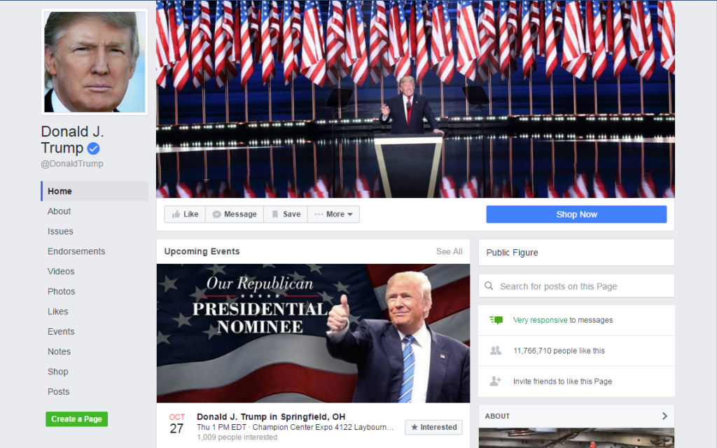 Donald J. Trump Facebook Page