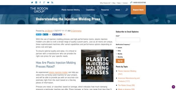 image of Blog post example of content marketing